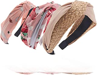 Straw Cloth Twist Headband – Soft Strawberry Cross Hairband Pink – Printed Flamingo Chiffon Hair Hoop, Gift Idea for Mother and Daughter, Sister, Travel, Shopping, Spa, Party, Daily Wearing