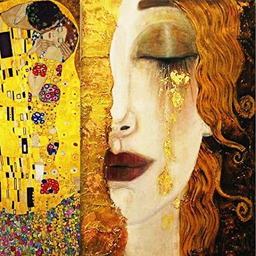 WSNDGWS Home Decor Schilderijen, Gouden Tranen En Kussen, Home Decor, Geen Beeld Frame 40x40cm A3