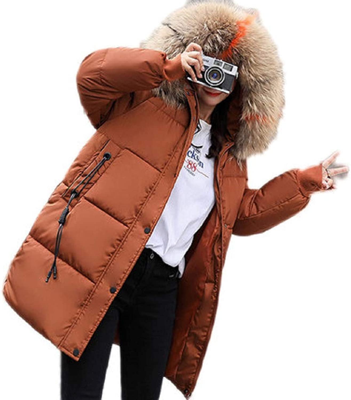 Aehoor Winter Womens Fur Collar Hooded Down Jacket Slim Warm Long 90% Duck Down