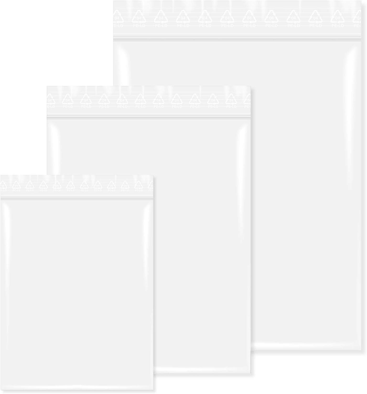 unbedruckt Transparent 500 St/ück Druckverschlu/ßbeutel in 70x100 mm 50 m/µ Lebensmittelgeeignet