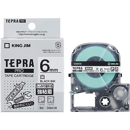 KING JIM テプラPROテープ強粘着タイプ白/黒文字 SS6KW