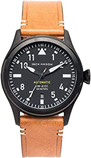 Jack Mason Men's Automatic Watch Aviator Tan Leather Strap JM-A101-040