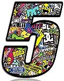 Biomar Labs® Número 5 DC Bomb Calavera Vinilo Adhesivo Pegatina Coche Auto Motocross Moto Sport Start Racing Tuning N 205