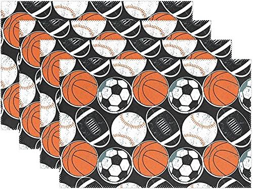 Manteles individuales para decoración de escritorio, baloncesto, béisbol, fútbol, juego de 4 manteles individuales antideslizantes resistentes al calor, para comedor, cocina, 12 x 18 pulgadas