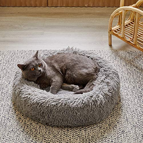 """Uozzi Bedding Plush Faux Fur Round Pet Cat Dog Bed, Comfortable Fuzzy Donut Cuddler Cushion Soft Shaggy and Warm for Winter 22"""" (Gray)"""