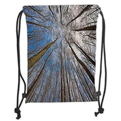 FFLISHD Gym Bag Printed Drawstring Sack Backpacks Bags,Xray Flower,X ray Photo of a Tropical Forest Exotic Trees Plants Nature Negative Art Print,Teal White Soft Satinr