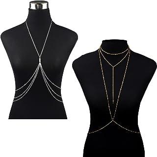 XUBX 2 stuks dunne sexy halsketting voor het lichaam van buik, Fashion dames lichaamsketting, sexy halsband lichaamssieraa...