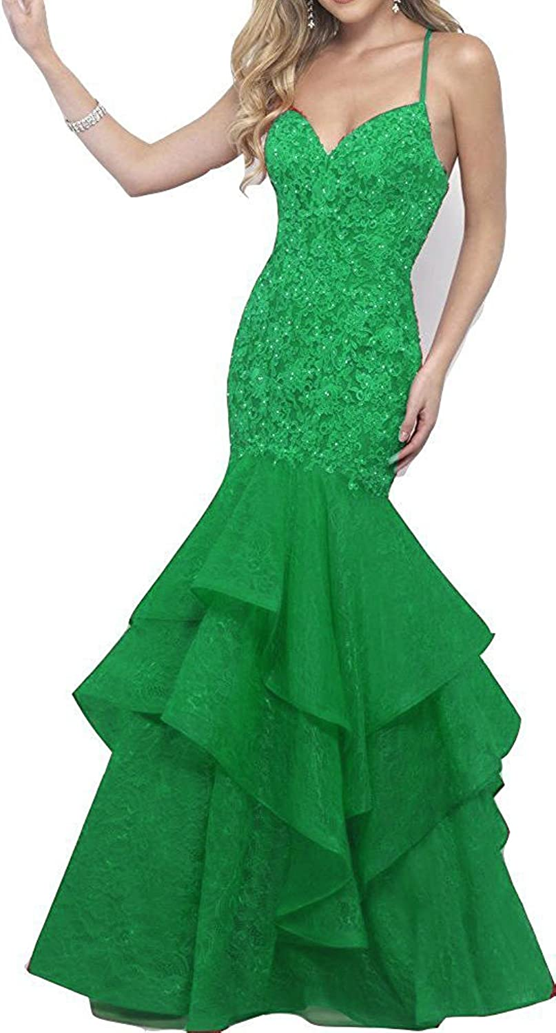 Yiweir Women's Prom Dresses 2018 Long Mermaid Tulle Lace Beads Cross Back Formal Gown YP016