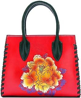 Trendy Lady Painted Handbag Large-capacity Handbag Peony Flower Shoulder Bag Zgywmz (Color : Red, Size : 28.5 * 11 * 24cm)