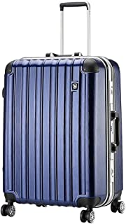 GLJJQMY Travel Case Aluminum Frame Luggage Waterproof and Wearable Business Trolley Case Caster Suitcase Trolley case (Color : Blue, Size : 45x29x62cm)