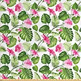 Lunarable Leaf Stoff by The Yard Hawaiian Hibiscus Kristall