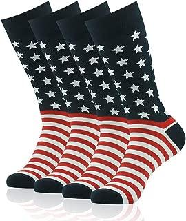 Mens Fashion Socks,SUTTOS Men's Womens Soft Cotton Funky Fashion Pattern Long Tube Crew Dress Socks,4 Pairs