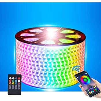XUNATA LED Strip Lights, Bluetooth Control RGB 110-120V SMD 5050 60 LEDs/m Waterproof Rope Light Strip with 20Key IR Remote, Work with iOS & Android Music Time Control System(33ft/10m)