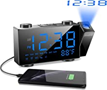 """SZMDLX Projection Alarm Clock for Bedrooms, FM Radio Alarm Clock with Temperature Display, 6"""" Large LED Display Dimmer, Dual Alarms Snooze Sleep Timer, Battery Backup for Kids, Heavy Sleepers"""
