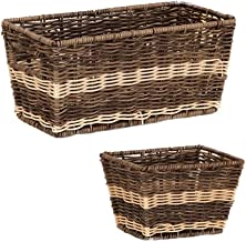 JUAN Laundry Basket Storage Shelf Basket With Insert Handles (Color : Brown, Size : Large+small)