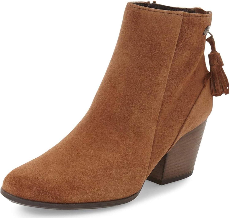 NJ kvinnor Round Toe Toe Toe Block Stacked hög klack Ankle stövlar mocka Dress Winter skor with Frid Double Zipper  80% rabatt