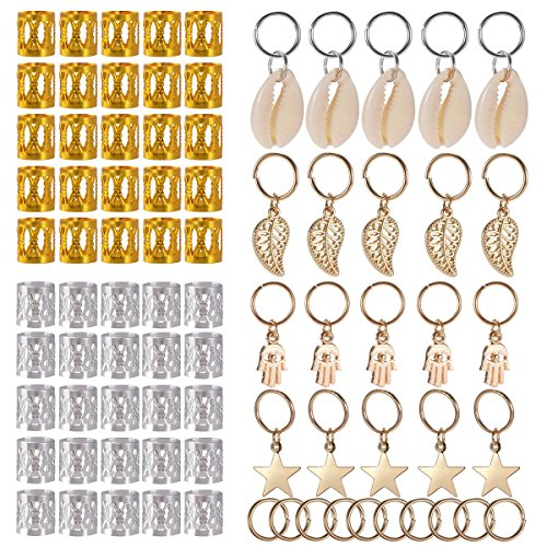 SoulBay 80 Pieces Hair Jewelry Rings Decorations Pendants, Including 50 PCS Aluminum Dreadlocks beads Metal Cuffs + 30 PCS Hair Decorations Rings Clips