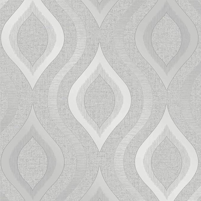 Quartz Trellis silver Wallpaper By Fine Décor Geometric fd42307 Vinyl Modern