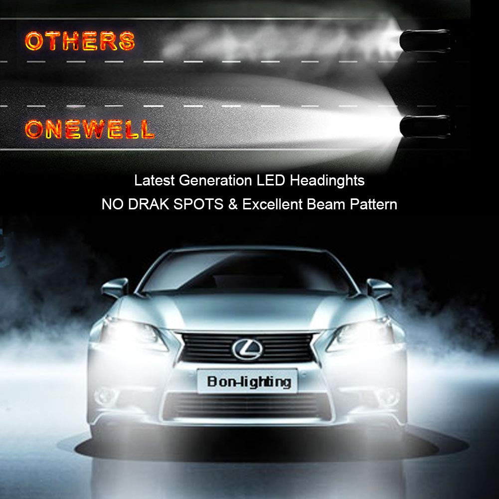 9006//HB4 LED Headlight Bulbs Conversion Kit,ONEWELL 60W 6000K 6000LM Low Beam Extremely Bright Xenon White-Advanced COB Chips Automotive Lighting Conversion Kits Pack of 2