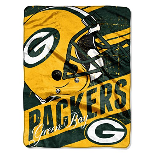 """Officially Licensed NFL Green Bay Packers """"Deep Slant"""" Micro Raschel Throw Blanket, 46"""" x 60"""", Multi Color"""