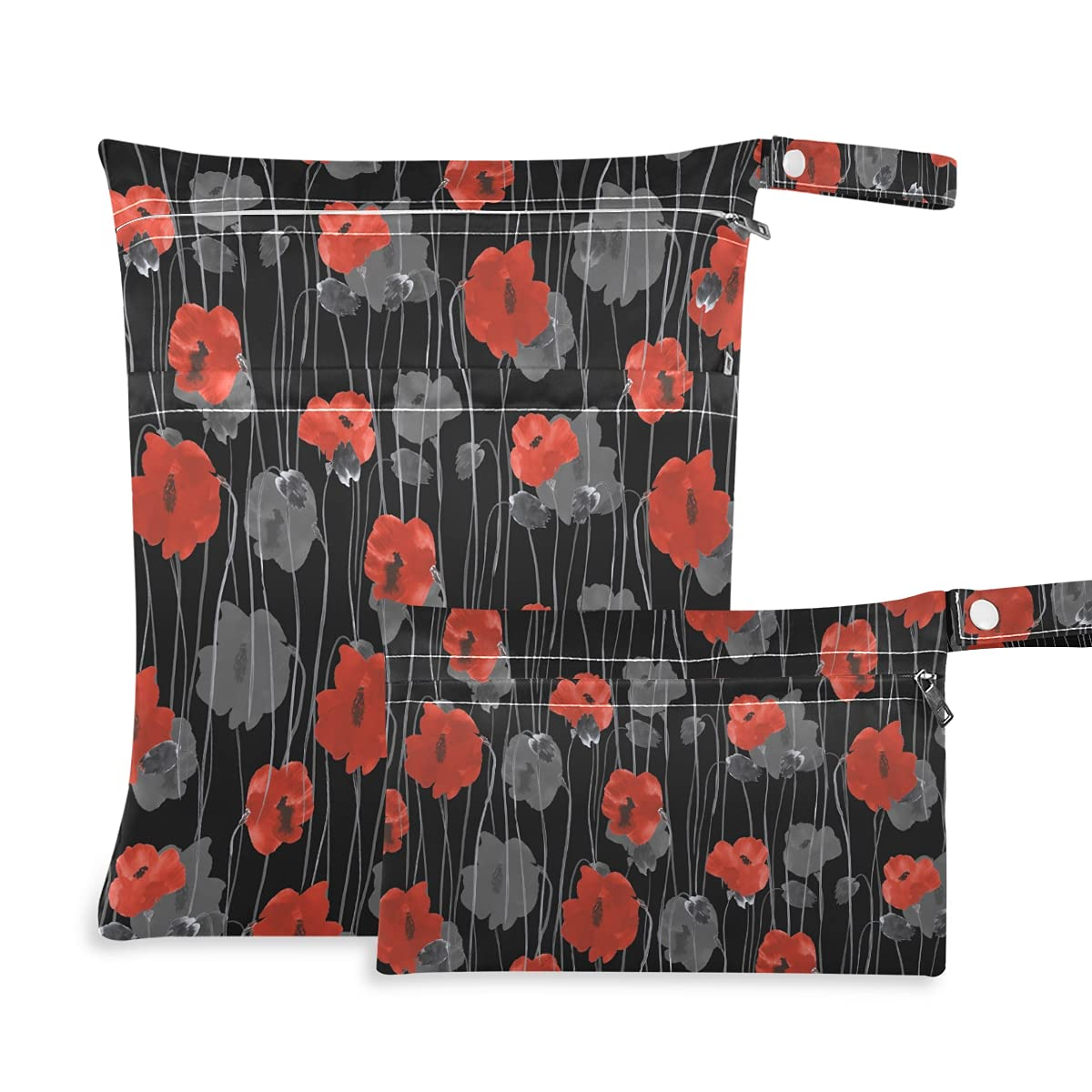 Red and Gray Flowers of Poppies Wet Reusable Dry Diaper Bag Washington Mall Max 87% OFF