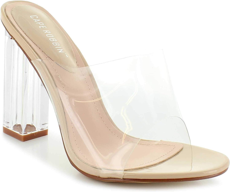 Cape Robbin Shoes Fusion Translucent Block High-Heel Mule Open Toe Sandal (7) Nude
