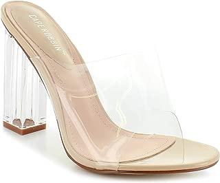 Cape Robbin Shoes Fusion Translucent Block High-Heel Mule Open Toe Sandal