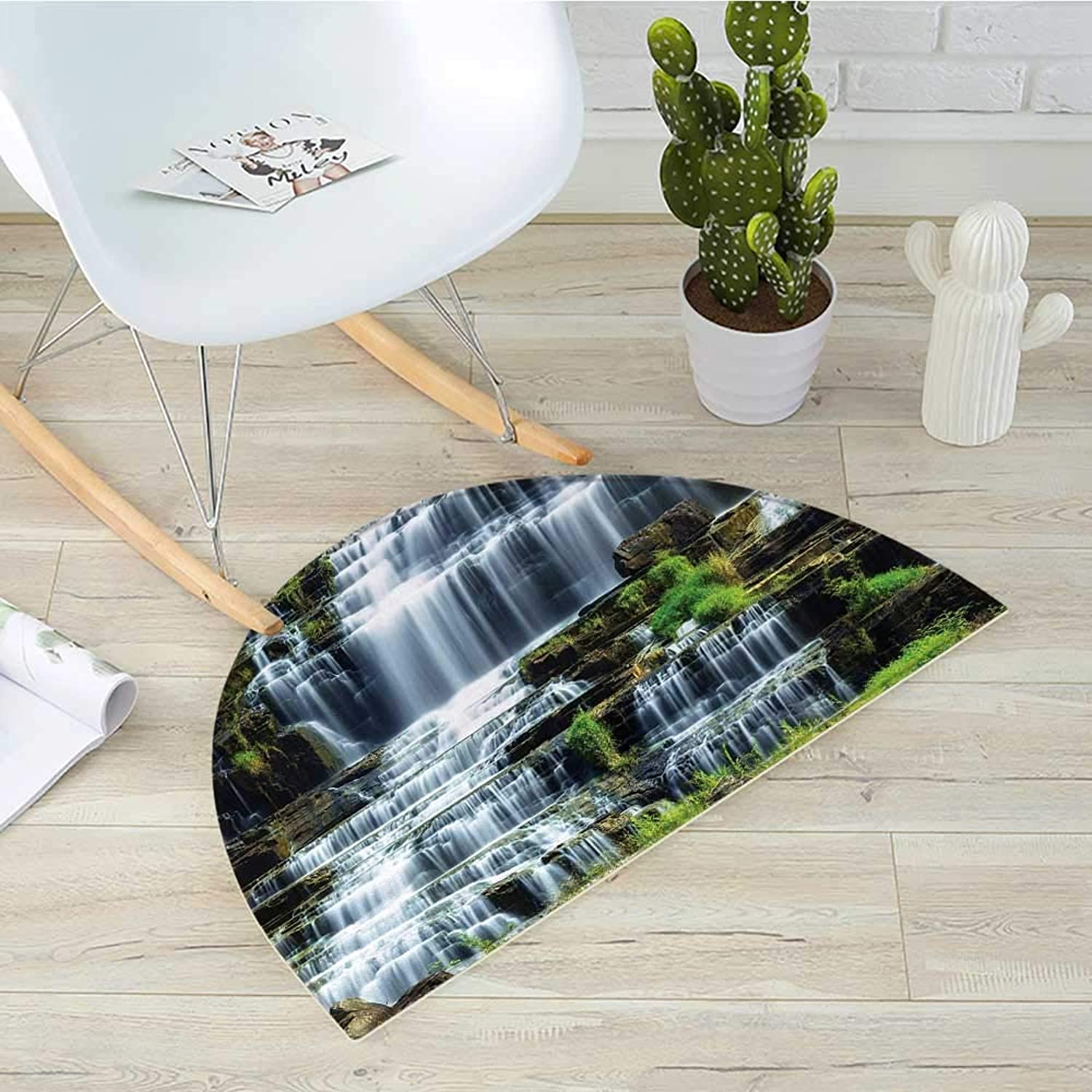 Rainforest Semicircle Doormat Waterfall in The Middle of Tropical Jungle Natural Scenery Countryside Style Halfmoon doormats H 39.3  xD 59  Green White