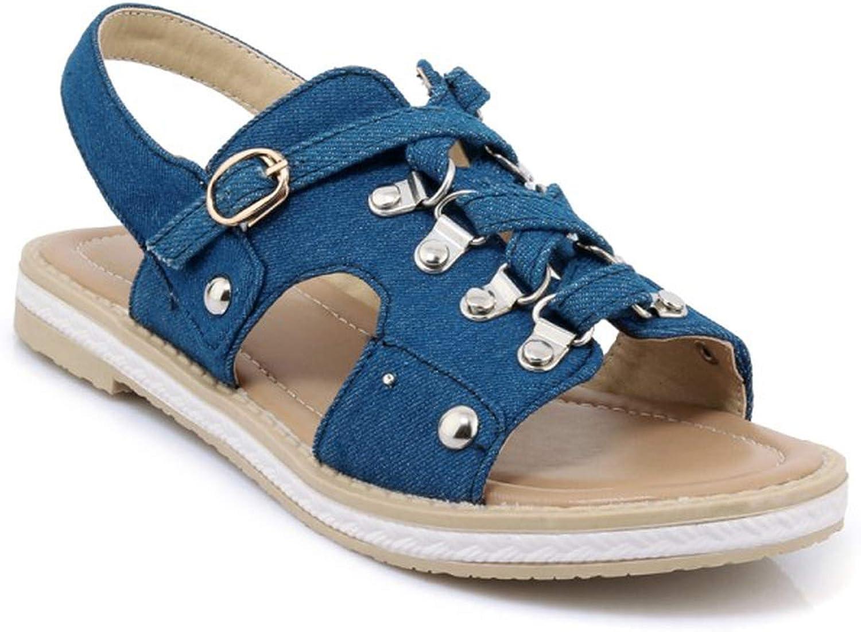 ZHOUZJ Denim Sandals Women Flat Sandals Casual Sweet Ladies Sandals Summer Fashion Retro Woman Sandals shoes