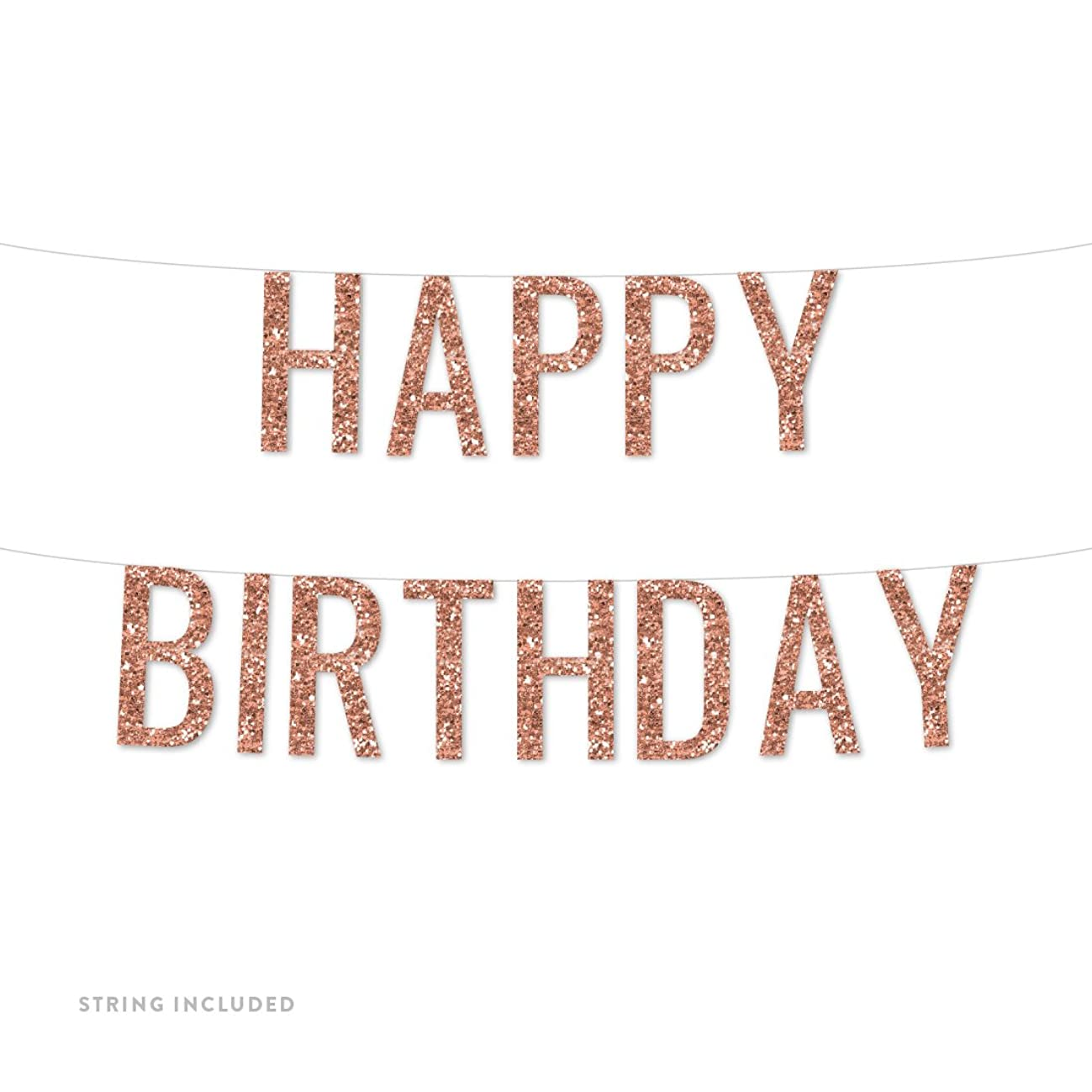 Andaz Press Real Glitter Paper Pennant Hanging Banner, Happy Birthday, Rose Gold Glitter, Includes String, Pre-Strung, No Assembly Required, 1-Set