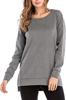 Tunic Tops for Women Long Sleeve Side Split Loose Casual Pullover Solid Top Grey Small