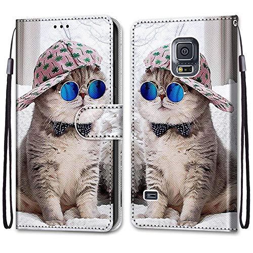 JMTALL Custodia per Samsung Galaxy S5 Flip Cover Libro Magnetica Portafoglio con Disegni Gatto Cool Supporto Stand Slot per Schede Cover Protettiva for Galaxy S5/S5 Neo