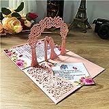 Invito a nozze pop-up 3D Rosa con carte RSVP sposa e sposo tagliati laser per fidanzamento, anniversario, inviti matrimonio con busta, 20 pezzi
