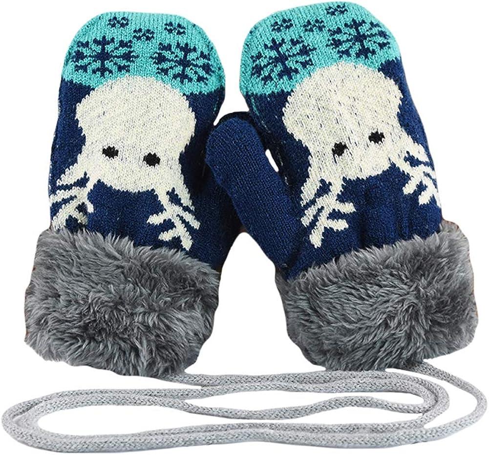 CHUANGLI Toddler Kids Warm Winter Full Finger Gloves with Christmas Deer Design Thick Fleece Lined Ski Gloves Mittens