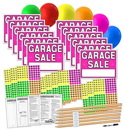 Kit de cartel de venta de garaje con pegatinas de precios y estacas de madera