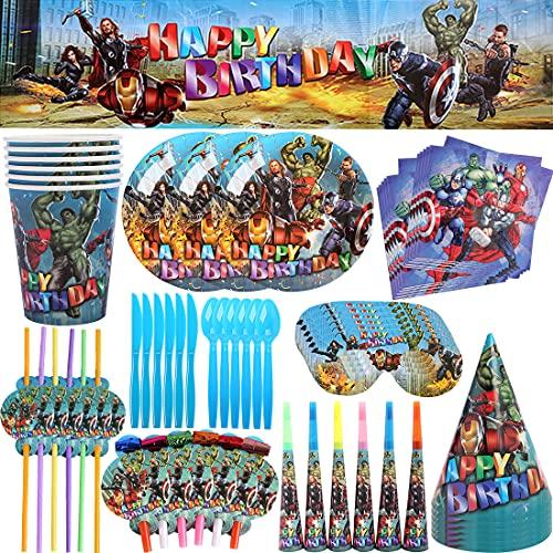 Party Geschirr -Tomicy 71pcs Avengers Kinder Geschirr Set mit Teller für Kindergeburtstagsfeiern Party Tableware,Kindergeburtstag Tischdeko Party Set für 6 Personen