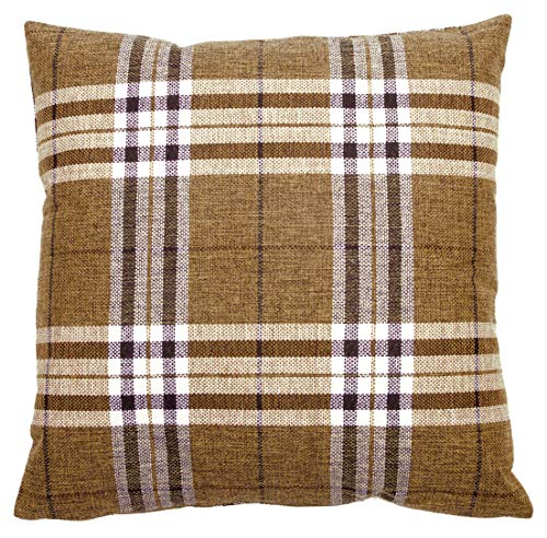 Brown & Cream Tartan Check Cushion Cover Regular 18 inch (45 cm) or Large 22 inch (55 cm) (22' x 22')
