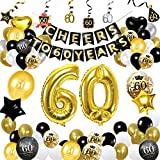Decorazioni per la Festa del 60 ° Compleanno, Forniture per Feste in Oro Nero Imposta Applausi a 60 Anni Banner Foil Coriandoli Palloncini in Lattice Stelle Filanti per Uomo dei Donne