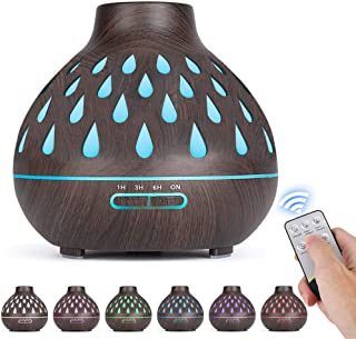 Essential Oil Diffuser (500ml), Remote Control, Ultrasonic Humidifier, Aromatherapy Diffusers with LED Lights & Waterless ...
