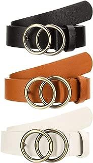Cinturón de piel sintética para mujer, 3 piezas, 1,10 pies de ancho, con hebilla de doble anillo dorada para pantalones vaqueros