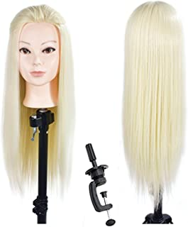 """26""""-28"""" Training Head Hair Styling Head Mannequin Head Practice Manikin Doll Head Synthetic Hair with Free Clamp"""