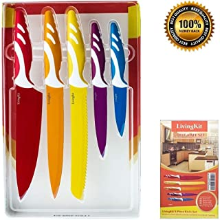 Juego de cuchillos de 5 piezas de acero inoxidable con revestimiento antiadherente, cuchillas de chef y cuchillo de pelar para inauguración de la casa, comercial, casa y cocina