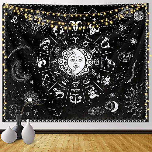 Funeon Sun and Moon Zodiac Tapestry Wall Hanging Black and White Constellation Tapestry Astrology for Bedroom Witchy Tapestries Indie Room Decor Teen Girl Small Dorm College Tapestry 51x60inch