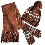 Juego de bufandas para niños y niñas, 3 en 1, para invierno, súper suaves, cálidas, de forro polar térmico con bufanda, y guantes, para niños y niñas, color marrón