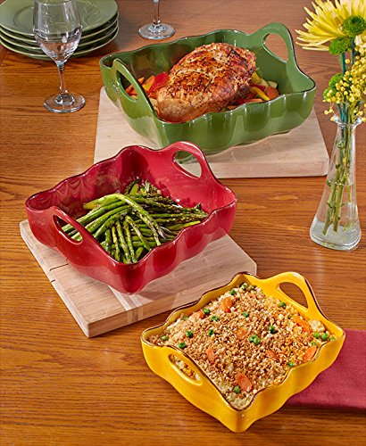 Baking Dish with Handles 3 Piece Set Square Stoneware Handled Bakeware Dishes