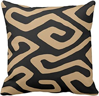 Emvency Throw Pillow Cover Brown Mud African Kuba Black Africa Decorative Pillow Case Home Decor Square 18 x 18 Inch Pillowcase