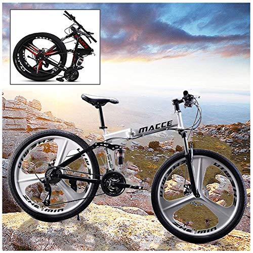 YANGSANJIN Vélo de Montagne Pliable VTT 26 Pouces Cadre en Acier 21 Vitesses Double Frein à Disque Vélo de Route Pliant, pour Homme, Femme, Ville