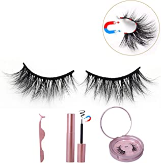 BEEOS 3D Mink Magnetic Eyelashes with Eyeliner Kit, False Lashes Feature 5 Magnets, Liquid Magnetic Eyeliner with Mirror and Tweezers Sit, No Glue Reusable Eye Lashes Natural Look G02 (1 Pair)