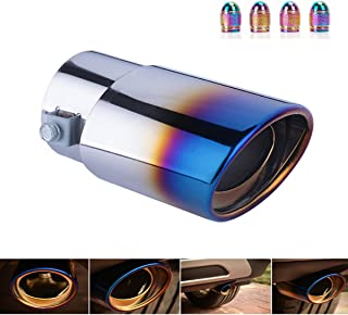 DSYCAR Universal Stainless Steel Roasted Blue Car Exhaust Tail Muffler Tip Pipes - Fit pipe Diameter 1.5 inch to 2.25 inch - Free 4 Valve Stem Caps (Straight:5.5'' X 3.4'')