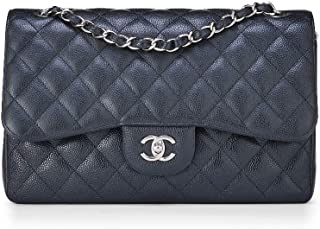 CHANEL Black Quilted Caviar Classic Double Flap Jumbo (Pre-Owned)